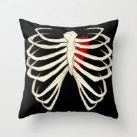 skeleton Throw Pillows featuring Skeleton by Abigail Larson