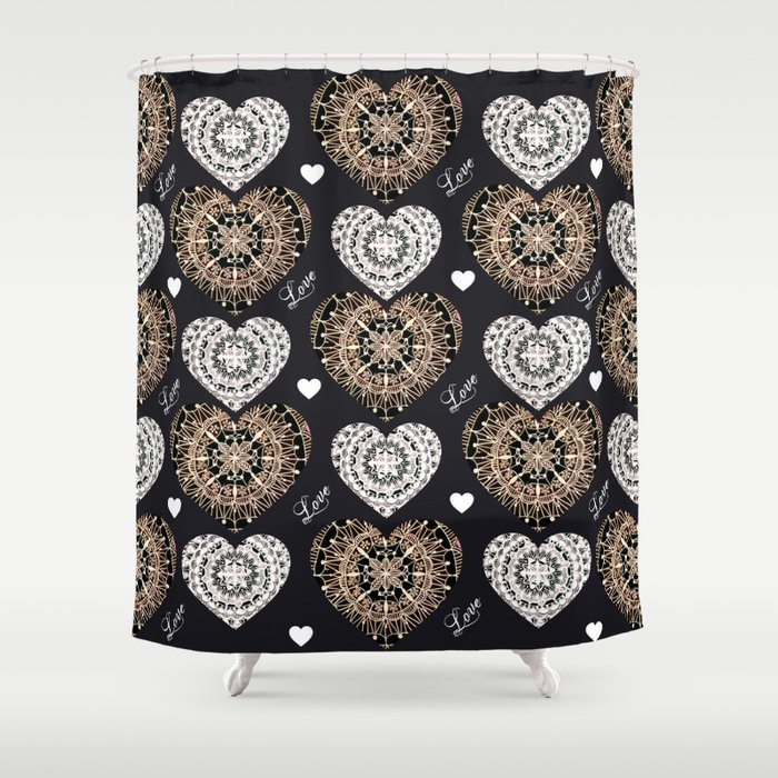 Rose Gold Silver And Black Mandala Hearts With Love Shower Curtain