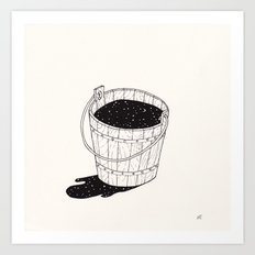 bucket of milk Art Print