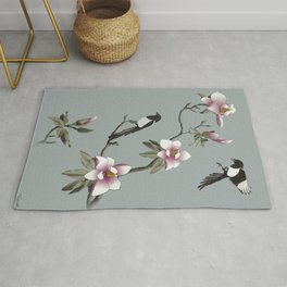 Magpies and Magnolia Rug