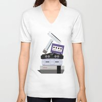 nintendo V-neck T-shirts featuring Nintendo Consoles by Michael Walchalk