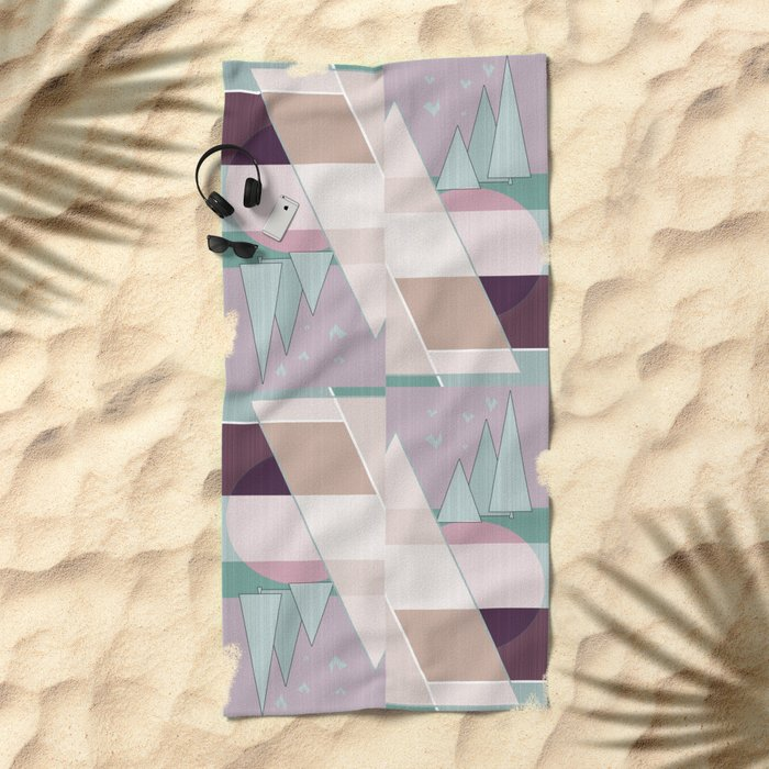 Pastel tone . Abstraction . Beach Towel