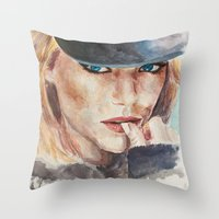 emma stone Throw Pillows featuring Emma Stone, blonde by xDontStopMeNow