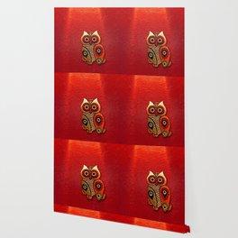 Retro Wood Owl Wallpaper