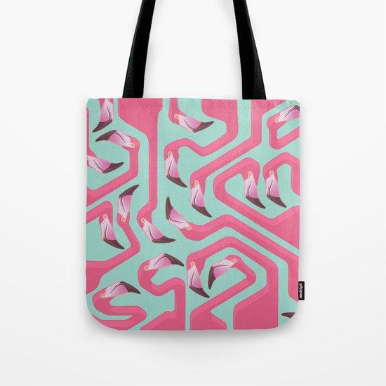 Flamingo Maze on beach glass background. Tote Bag