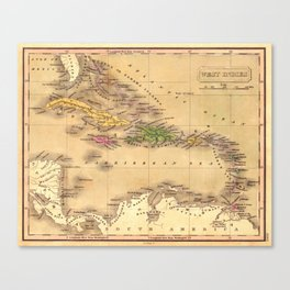 Map Of The Caribbean 1828 Canvas Print