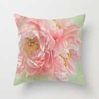 peonies Throw Pillows featuring Peonies by Lizzy Pe