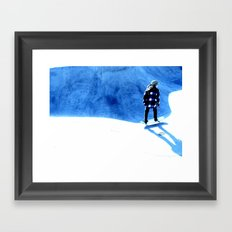 Skate into the blue Framed Art Print