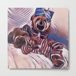 2 Yorkies Getting Ready For Bed Metal Print