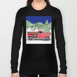 Old Red Farm Truck Winter Long Sleeve T-shirt