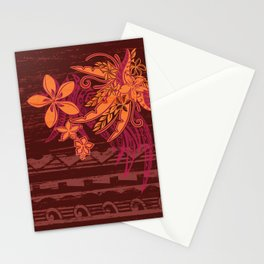 Panted Samoan Tribal Floral And Leaves Stationery Cards