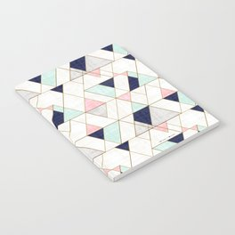 Mod Triangles - Navy Blush Mint Notebook