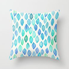 Watercolor Leaf Pattern in Blue & Turquoise Throw Pillow