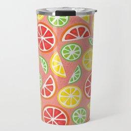 Vitamin C Super Boost - Citric Fruits on Peach Travel Mug