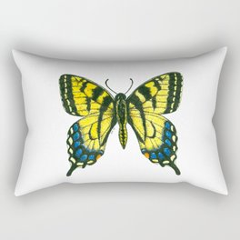 Tiger swallowtail butterfly watercolor and ink art, watercolor butterfly, eastern tiger swallowtail Rectangular Pillow