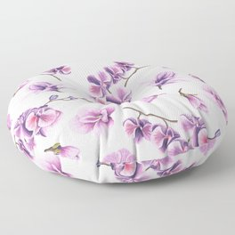 Orchid Flowers Pink and Purple Floor Pillow