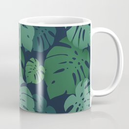 Monstera dark jungle pattern Coffee Mug