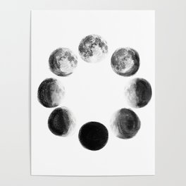 Moon Cycle Watercolor Poster