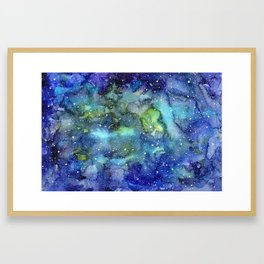 Space Galaxy Blue Green Watercolor Nebula Painting Framed Art Print