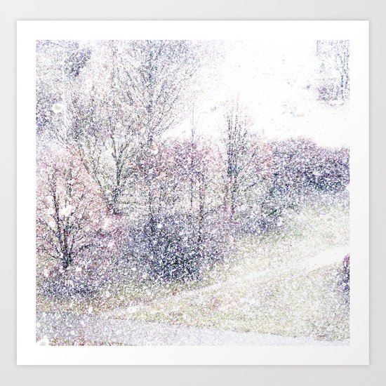 Snow in early fall(2). Art Print