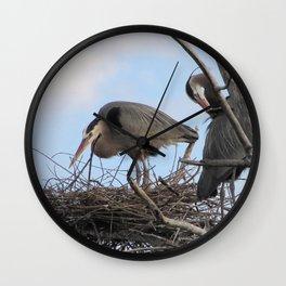 Great Blue Herons Nesting Wall Clock