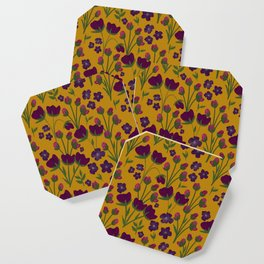Purple and Gold Floral Seamless Illustration Coaster