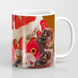 CAKE & STRAWBERRIES PINK FROSTED DONUTS BIRTHDAY Coffee Mug