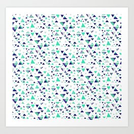 Hypnotic Triangles in Blue Art Print