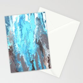 Fluid Acrylic Blue Abstract Painting - When it Rains Stationery Cards