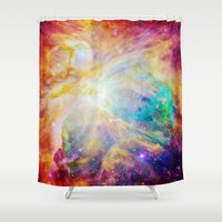 nebula Shower Curtains featuring nEBula : Colorful Orion Nebula by 2sweet4words Designs