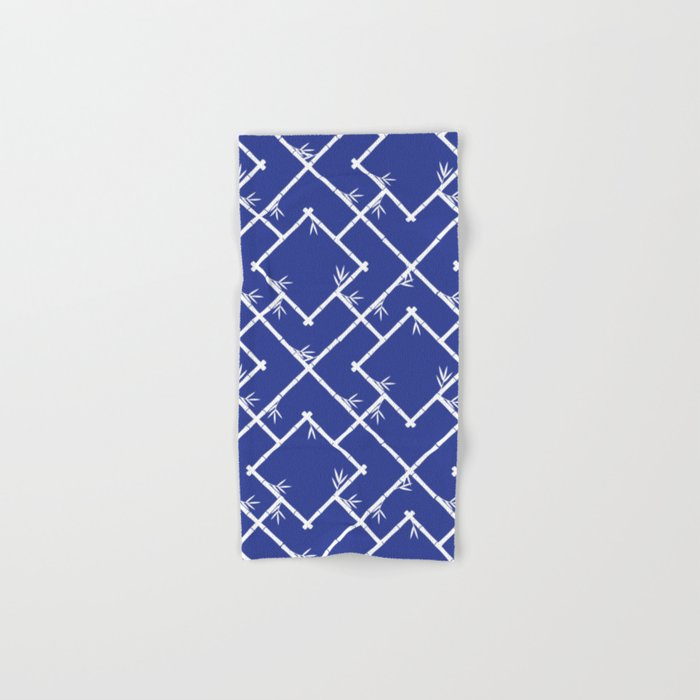 Bamboo Chinoiserie Lattice in Blue + White Hand & Bath Towel
