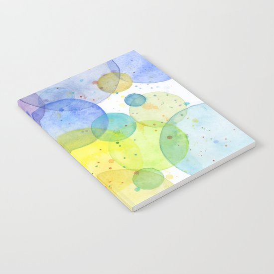Watercolor Abstract Rainbow Circles and Splatters Notebook