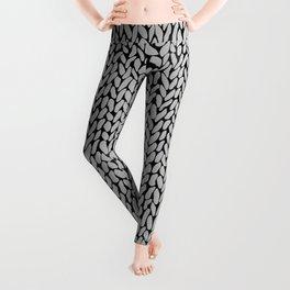 Hand Knit Grey Black Leggings