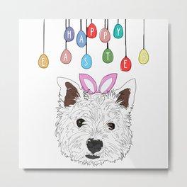 Happy Easter Bunny - Westie dog Metal Print