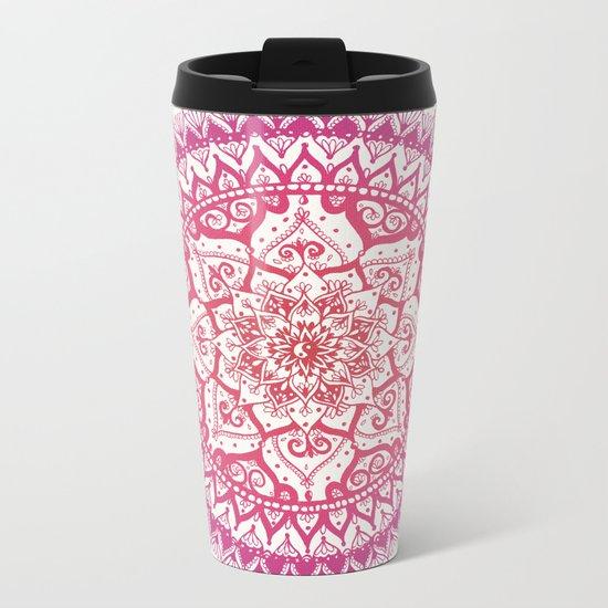Yin Yang Mandala in Tropical Sunset Metal Travel Mug