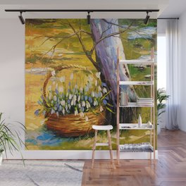Basket of snowdrops Wall Mural