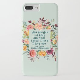 Pride and prejudice, you bewitch me florals iPhone Case
