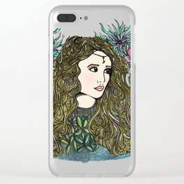 Golden Lady Moon Clear iPhone Case
