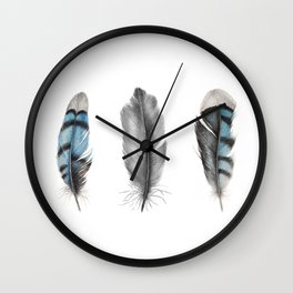 Blue Jay Feathers   Bird   Animal   Painting   Art   Animals Wall Clock