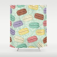 macaroons Shower Curtains featuring Cute pastel macaroons pattern by Alena Rozova