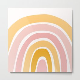 Abstract Shapes 94 in Mustard Yellow and Pale Pink (Rainbow Abstraction) Metal Print