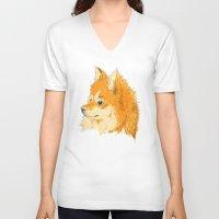 pomeranian V-neck T-shirts featuring Pomeranian by Det Tidkun