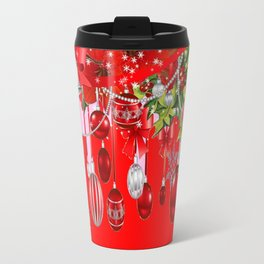 RED CHRISTMAS SNOW FLAKES & AMARYLLIS CHRISTMAS ORNAMENTS Travel Mug