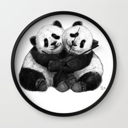 Panda's Hugs G143 Wall Clock