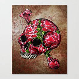 trad rose covered skull Canvas Print