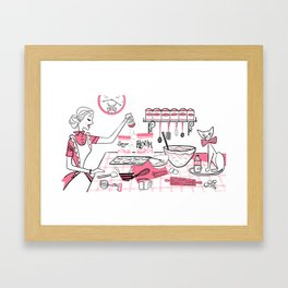 Baking Day Fun With Mister Kitty Framed Art Print