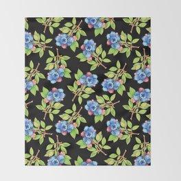 Wild Blueberry Sprigs Throw Blanket