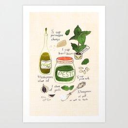 Pesto. Illustrated Recipe. Art Print