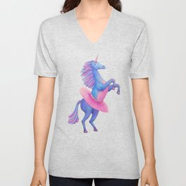 Unicorn Ballerina Unisex V-Neck