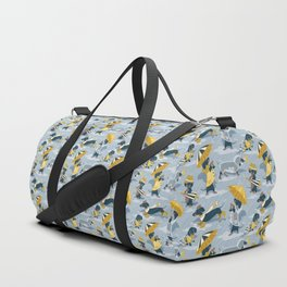 Ready For a Rainy Walk // pastel blue background dachshunds dogs with yellow and transparent rain co Duffle Bag